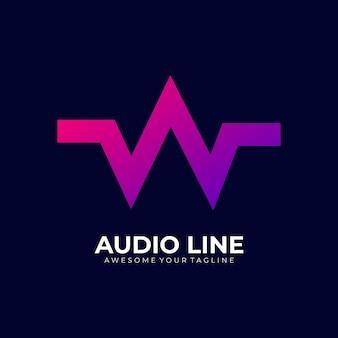 Lettre w dégradé audio couleur moderne