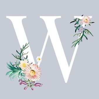 Lettre w avec des fleurs