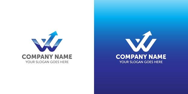 Lettre w logo flèche vers le haut