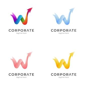Lettre w avec modèle de logo flèche avec variation de couleur
