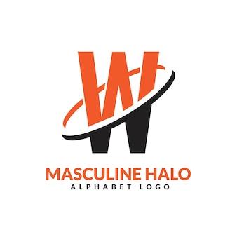 Lettre w orange et noir anneau géométrique masculin logo vector illustration icône