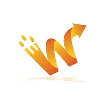 Lettre w splash avec logo flèche