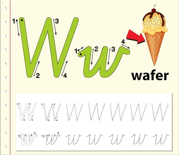 Lettre w traçant des feuilles d'alphabet