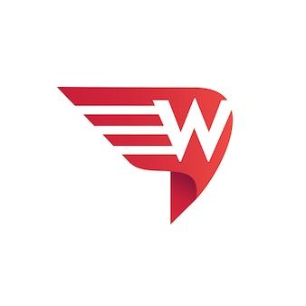 Lettre w wing logo vecteur