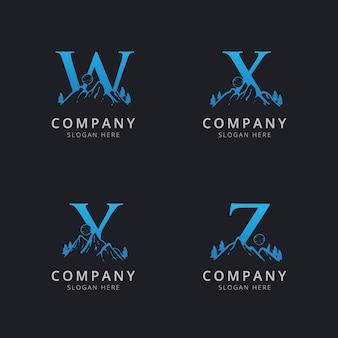 Lettre wxy et z avec modèle de logo de montagne abstraite