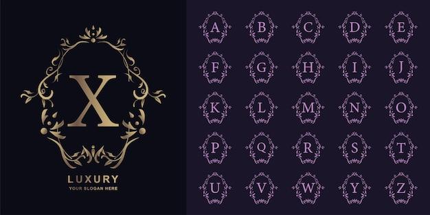 Lettre x ou alphabet initial de collection avec modèle de logo doré cadre floral ornement de luxe.