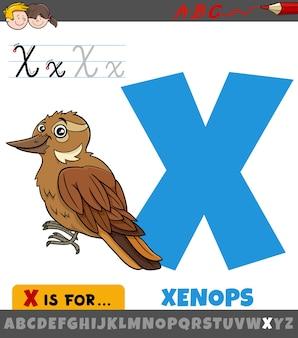 Lettre x de l'alphabet avec oiseau xenops de dessin animé