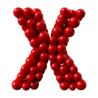 Lettre x avec des boules brillantes de couleur rouge. illustration réaliste.