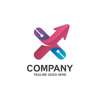 Lettre x et flèche dans le logo de la technologie
