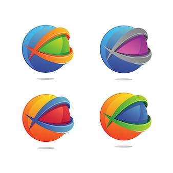 Lettre x avec logo globe