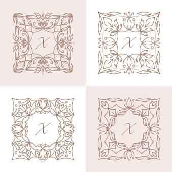 Lettre x avec modèle de logo de cadre floral