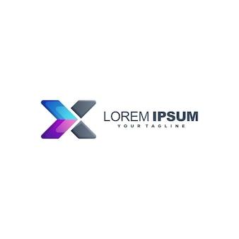Lettre x vecteur de conception de logo de couleur dégradé