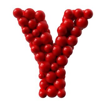 Lettre y avec des boules brillantes de couleur rouge. illustration réaliste.