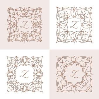 Lettre y avec modèle de logo de cadre floral