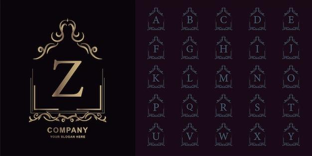Lettre z ou alphabet initial de collection avec modèle de logo doré cadre floral ornement de luxe.