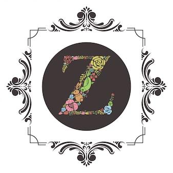 Lettre z initiale avec vecteur floral