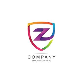 Lettre z et logo bouclier en vecteur