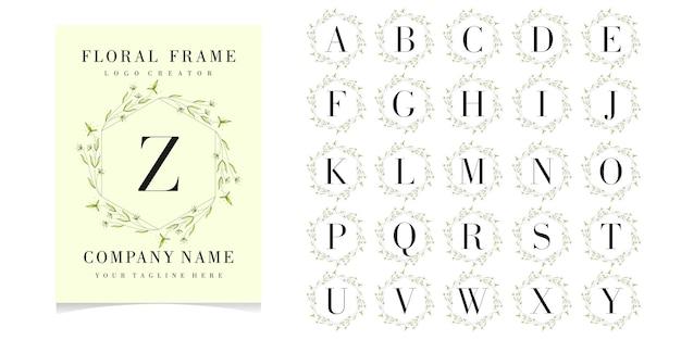 Lettre z logo avec cadre floral