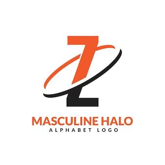 Lettre z orange et noir anneau géométrique masculin logo vector illustration icône
