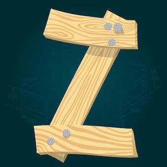 Lettre z - police vectorielle stylisée faite de planches de bois martelées avec des clous en fer.