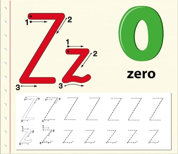 Lettre z traçant les feuilles de l'alphabet