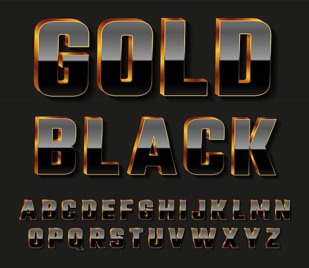 Lettres de l'alphabet 3d noir doré