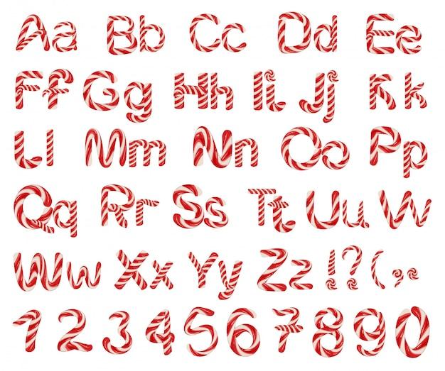 Lettres de l'alphabet bonbon rayé de noël