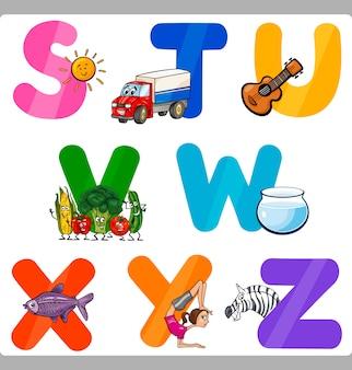 Lettres de l'alphabet cartoon education pour les enfants