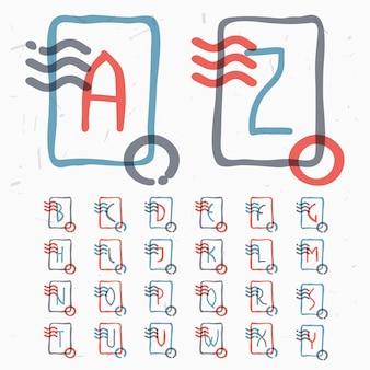 Lettres de l'alphabet dans un cadre carré avec des lignes ondulées et un tampon circulaire. style de superposition de couleurs. caractère de cachet de vecteur pour les étiquettes, les titres, les affiches, les cartes, etc.