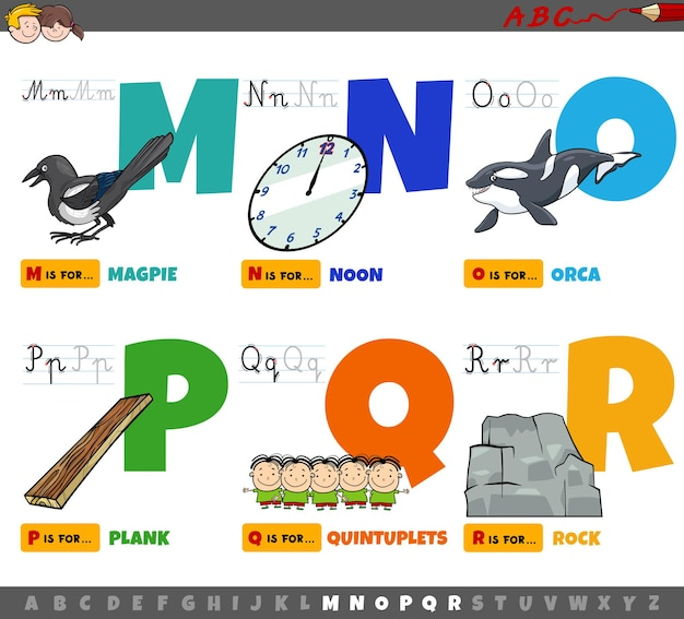 Lettres de l'alphabet de dessin animé éducatif pour les enfants de m à r