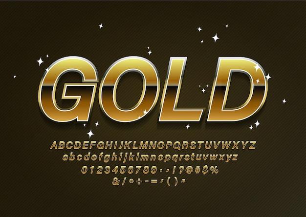 Lettres de l'alphabet doré noir, chiffres et symboles de ponctuation. vecteur