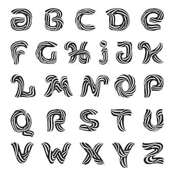 Lettres de l'alphabet formées par des lignes de laine torsadées.