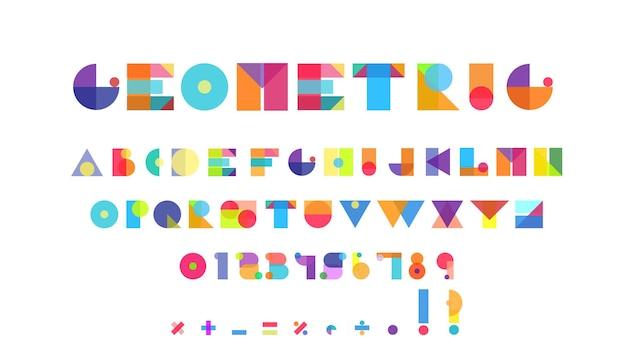 Lettres de l'alphabet de formes géométriques