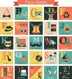 Lettres de l'alphabet hipster - concept serti d'icônes