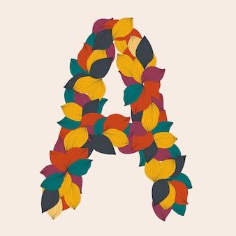 Lettres de l'alphabet de l'illustration des feuilles