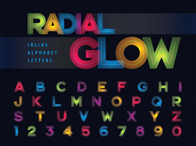 Lettres alphabet lueur radiale