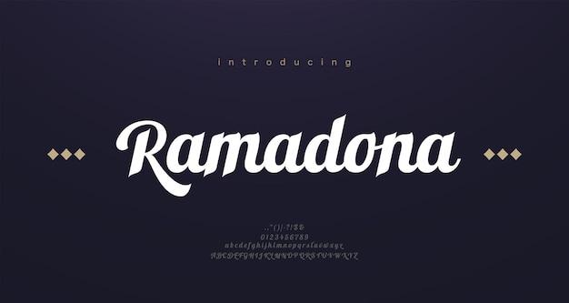 Lettres de l'alphabet de police de style arabe. lettrage classique arabe élégant. typographie polices serif modernes