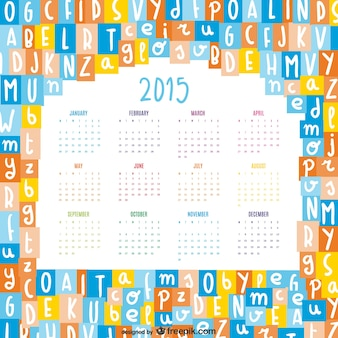Lettres de l'alphabet se mélangent 2015 calendrier vecteur