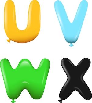Lettres de l'alphabet uvwx couleurs