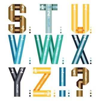 Lettres de l'alphabet de vecteur de rubans et de lignes avec des options de nombre pour une utilisation en infographie