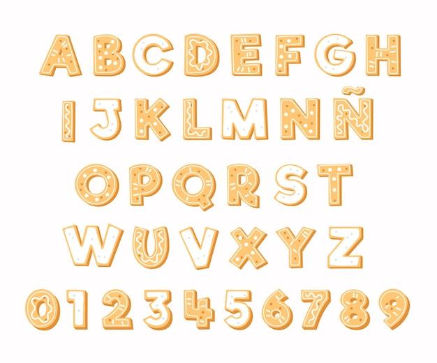 Lettres alphabétiques de noël en pain d'épice