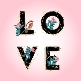 Lettres d'amour avec des éléments floraux