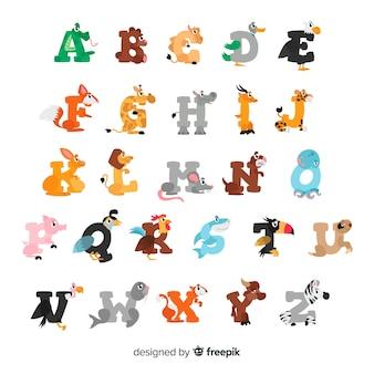 Lettres d'animaux dessinés à la main