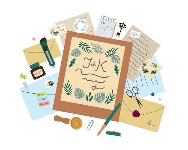 Lettres, applications de papeterie, invitations de mariage, décoration artisanale, enveloppes