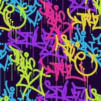 Lettres d'arrière-plan lettrage de couleur tags graffiti street art illustration vectorielle patern sans soudure