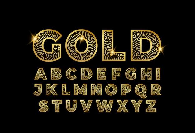 Lettres d'art doodle d'or a à z