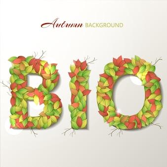 Lettres bio écologiques avec feuille d'automne