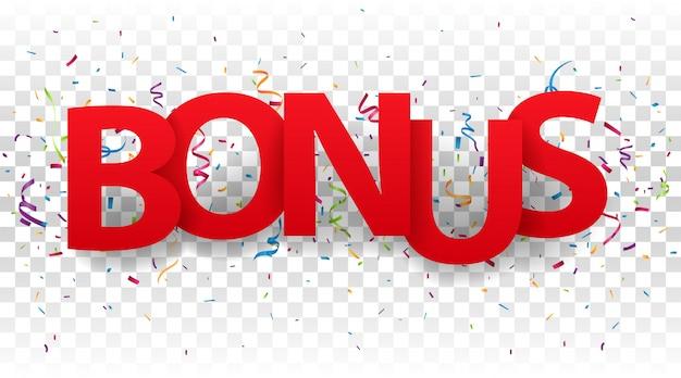 Lettres de bonus avec des confettis colorés