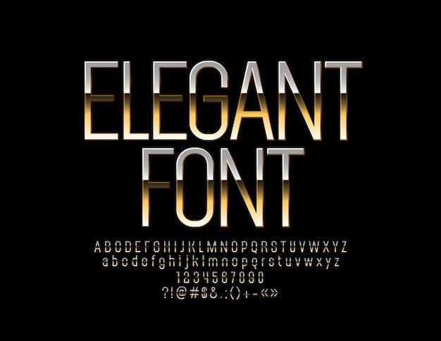 Lettres et chiffres de l'alphabet d'élite d'or élégant