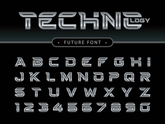 Lettres et chiffres de l'alphabet futuriste, polices stylisées future techno